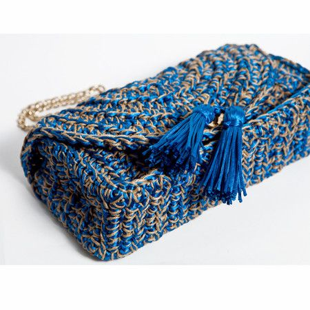 Bolsa Baguete Horizonte •oceano• CM325 - Catarina Mina | Bolsas de Crochê feitas a mão