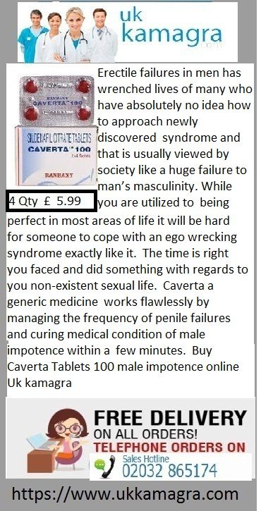 Caverta a generic medicine   works flawlessly by managing the frequency of penile failures and curing medical condition of male impotence within a   few minutes. Caverta Tablets available in dosage strength of 100 mg is an extremely reliable kind of Viagra containing   Sildenafil citrate as its active element working its best by controlling erection failures and curing the complication   of erectile dysfunction in a matter of few minutes.