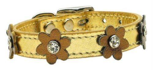 """Mirage Pet Products 83-08 10Gd-Bz Flower Leather Gold Dog Collar, 10"""""""