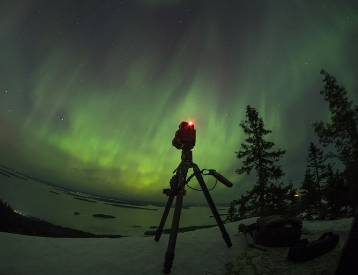 Northern Lights over Koli National Park. Shot with Olympus OM-D E-M1 and Samyang 7.5mm Fisheye. Photo by Pekka Kastikainen.