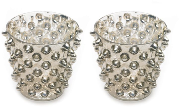 #Studded #Votive - Set of 2. Mercury glass hard-rock accessory.: