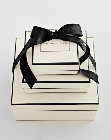 Jo Malone packaging in black and white from Inspiration Lane
