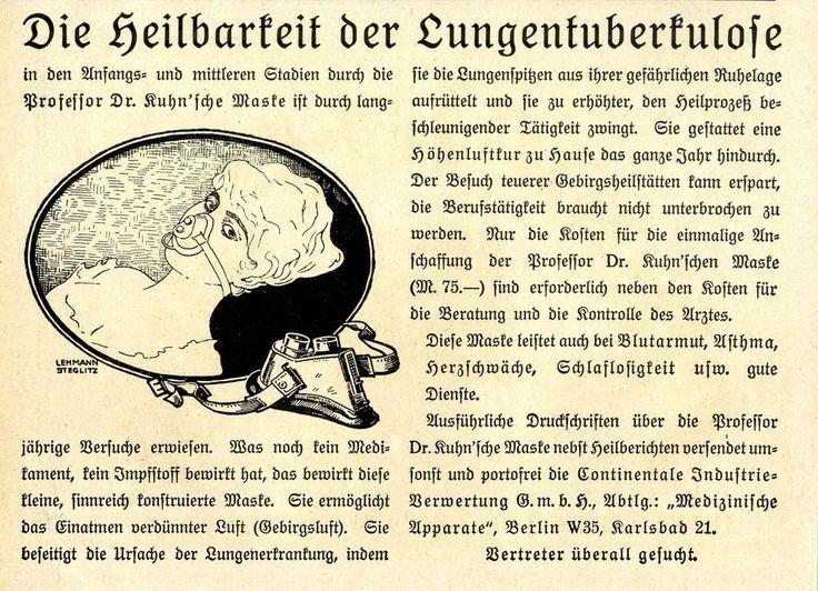 Prof.Dr.Kuhn'sche Maske Höhenluftkuhr Lungentuberkulose 1921
