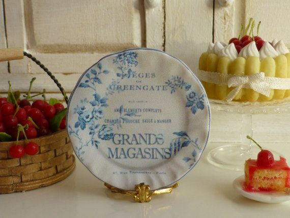 Camile  Dusty Blue Shabby Plate for by Twelvetimesmoreteeny, €2.80