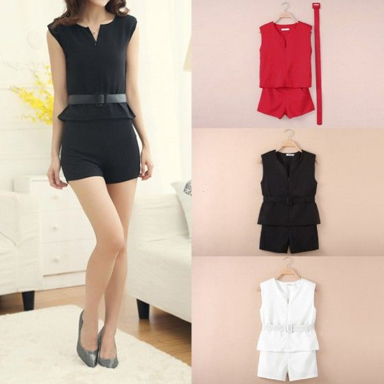 Fashion Women Two Pieces V Neck Zipper Front Sleeveless Top Shorts Pants Twin Set with Belt