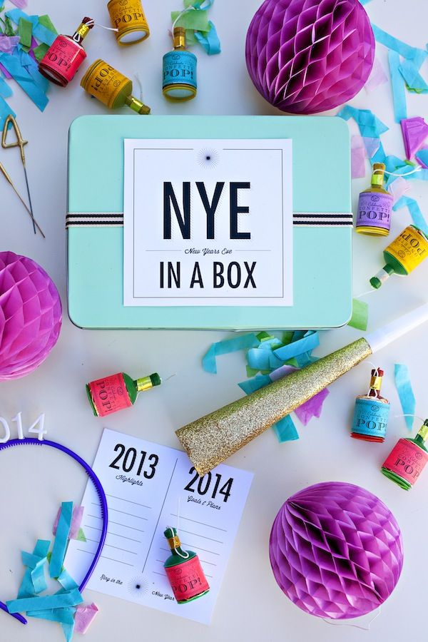 new year's eve in a box with free printable label + highlights/goals/resolutions cards  {you are my fave}