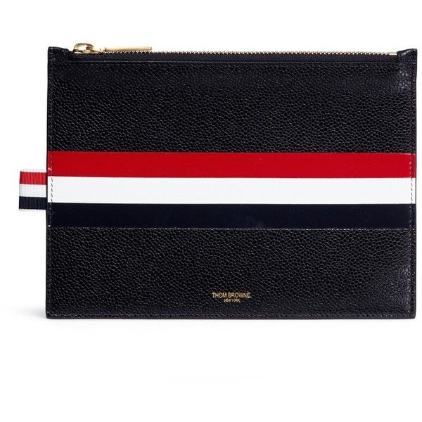 Thom Browne Stripe pebble grain large zip pouch (2,285 PEN) ❤ liked on Polyvore featuring bags, wallets, black, thom browne pouch, striped bag, thom browne wallet, large zipper bag and pouch bag