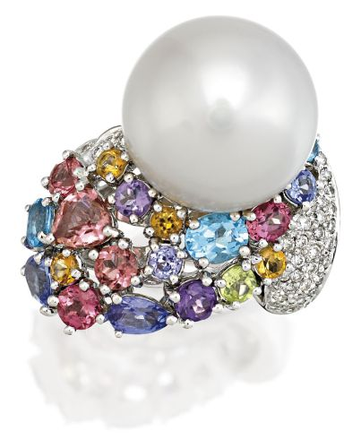 SOUTH SEA PEARL, DIAMOND AND MULTI GEM RING, PASPALEY Of stylised foliate design centring a 15.50mm cultured pearl above a cluster of variously cut multi coloured gemstones highlighted by brilliant-cut diamonds, mounted in 18ct white gold, size K, signed Paspaley.