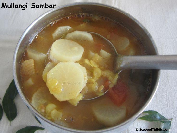 Mullangi Sambar or Radish Sambar is an easy to make sambar that goes well with both rice and idli or dosa. I love this Sambar more because of the delicious