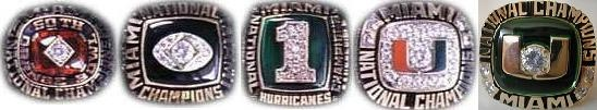 Miami Hurricanes Football National Championship Rings