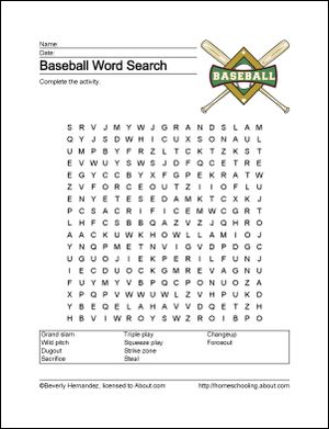 Baseball Printables - Baseball Wordsearch. Print the Baseball Word Search and find the Baseball related words.: Baseball Wordsearch