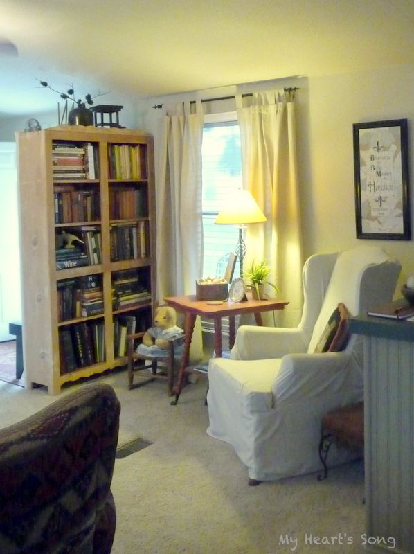Bookcase With Bench Behind Beadboard And Trim On The Back