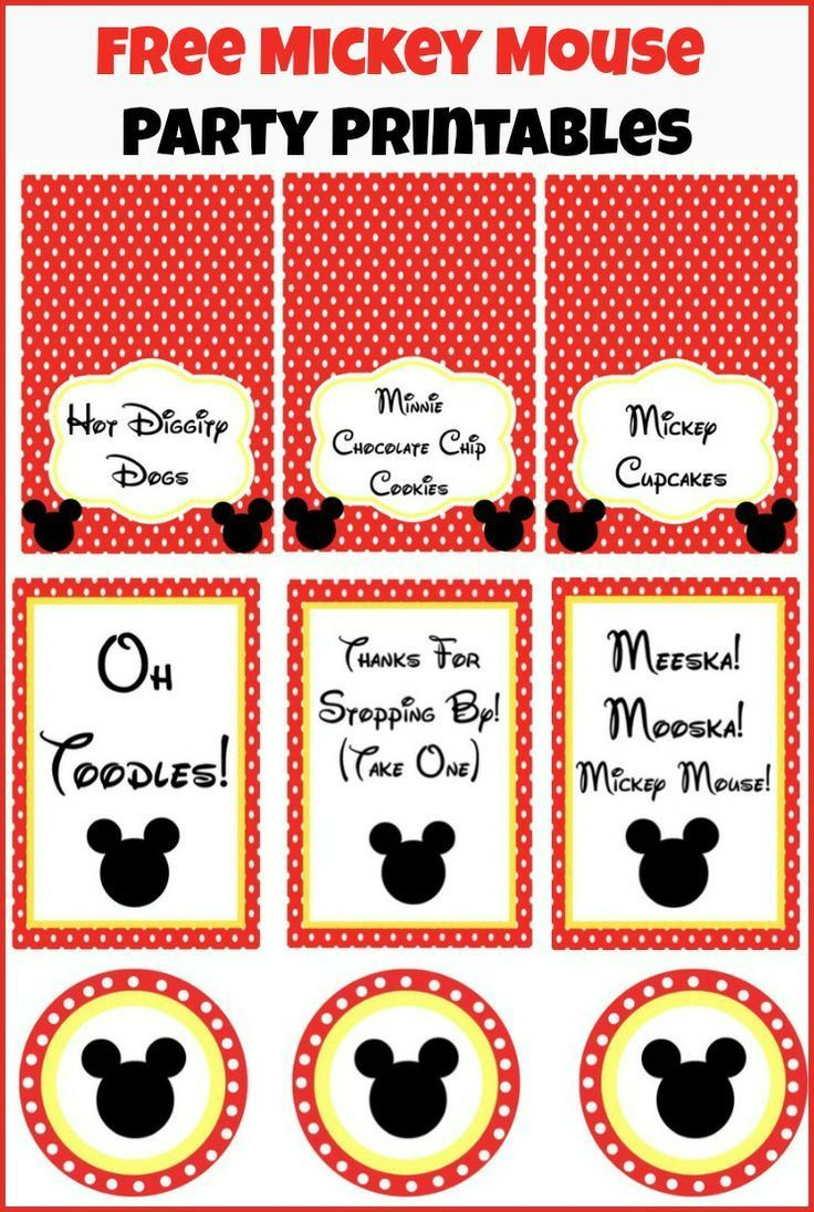 Free Mickey Mouse party printables from playpartypin.com