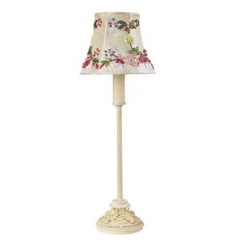 66 60 Leaf Scroll Ivory Small Table Lamp With Ribbon Embroidery Ivory Shade Jubilee Collection S