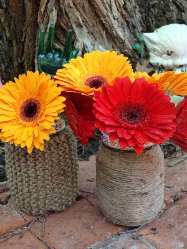 Cute DIY Mason Jar Ideas - Mason Jar Vase Covered in Twine - Fun Crafts, Creative Room Decor, Homemade Gifts, Creative Home Decor…
