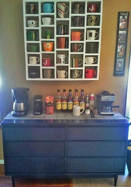 Coffee/Tea station...love the mug storage idea!!
