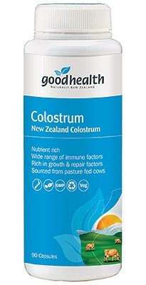 Good Health's Colostrum Capsules is a nutritious source of beneficial immune factors, particularly IgG antibodies to provide natural immune support. http://www.shopnewzealand.co.nz/en/c/Health/Good_Health