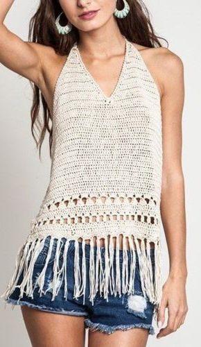 Boho Babe Cotton Fringe Crochet Halter Top Shirt