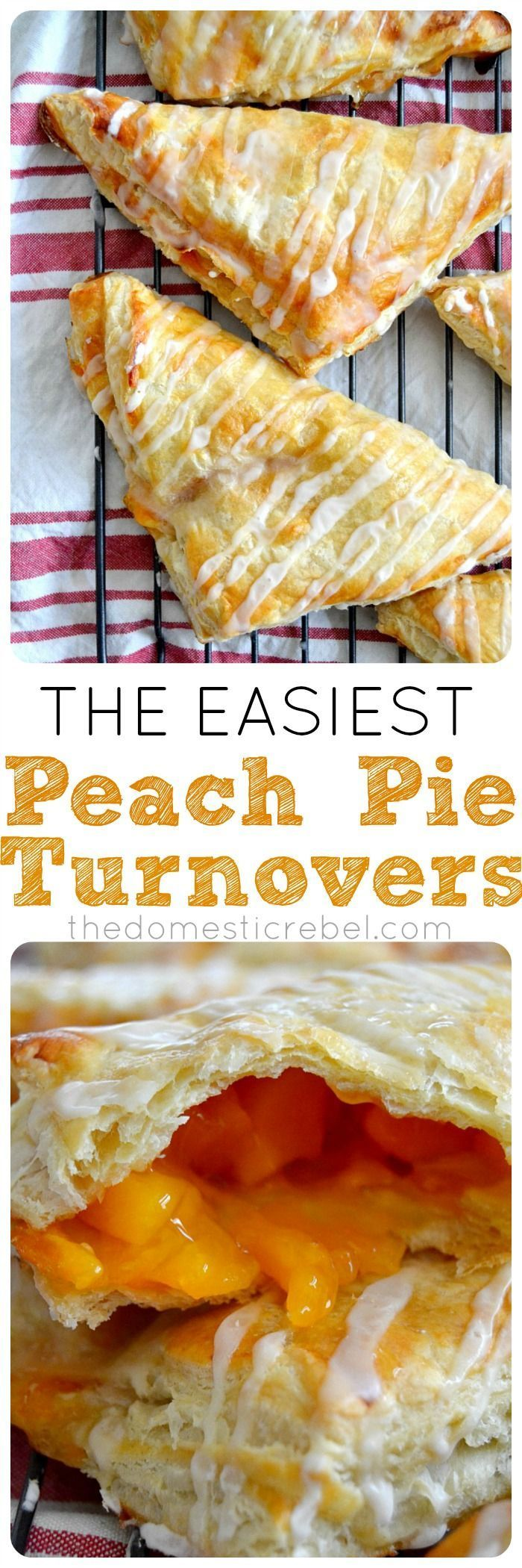 These Peach Pie Turnovers are the EASIEST you'll ever make! Three ingredients, one outrageously delicious, gooey peach turnover. You need this recipe!
