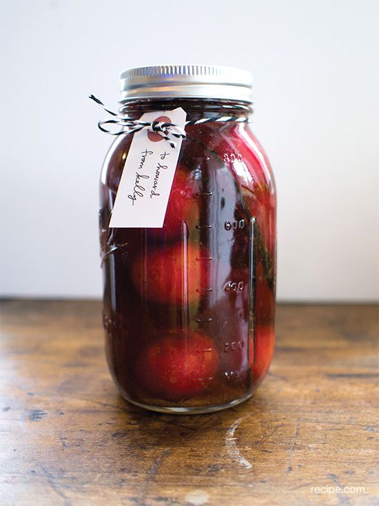 spiced brandied plums: buy plums now, make this recipe, give as gifts during the holidays.