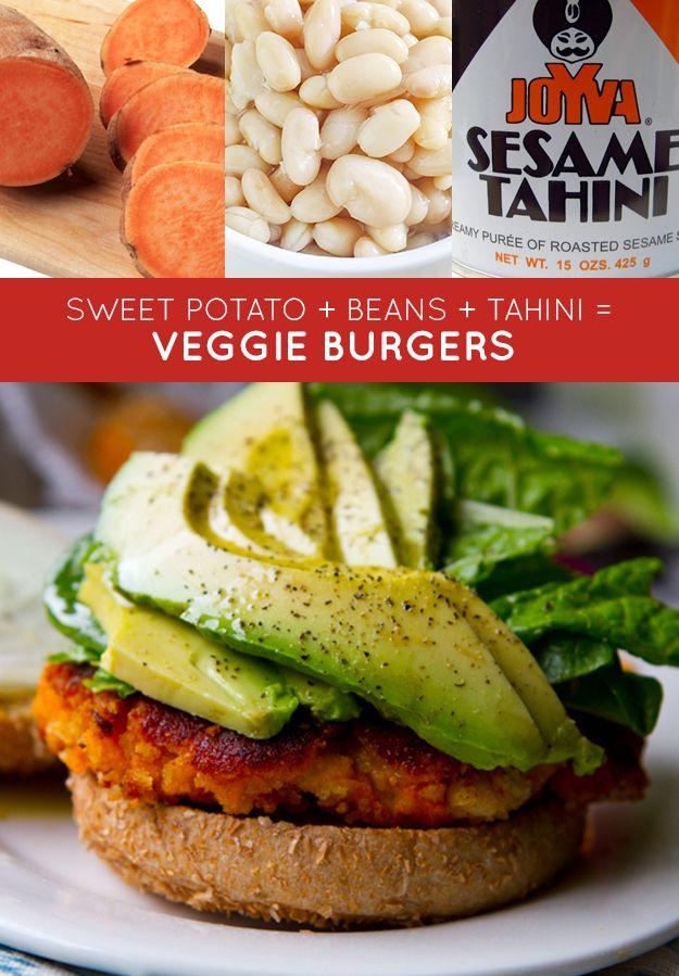 sweet potato   white beans   tahini = veggie burgers   33 Genius Three-Ingredient Recipes
