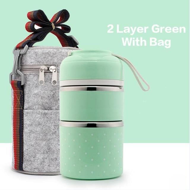 Portable Cute Mini Japanese Bento Box Leak-Proof Stainless Steel Thermal Lunch Boxs For Kids Picnic Container For Food Storage