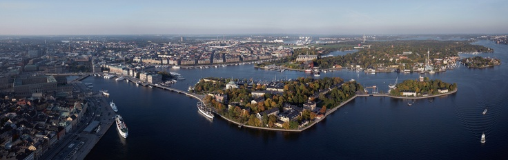 Stockholm city seen from above with all it´s diffrent islands. Skeppsholmen and Kastellholmen to the right and `Gamla stan` to the left. Photo taken by: Ola Ericson