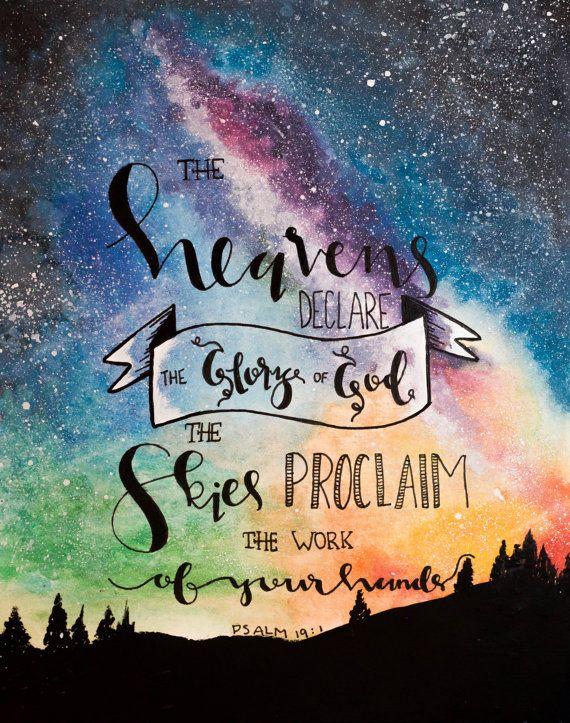INSTANT DOWNLOAD - Psalm 19:1 Bible Verse Art Printable, Scripture Print, Christian Wall Art, Bible Verse Poster, 30 days of Bible lettering, God, Jesus
