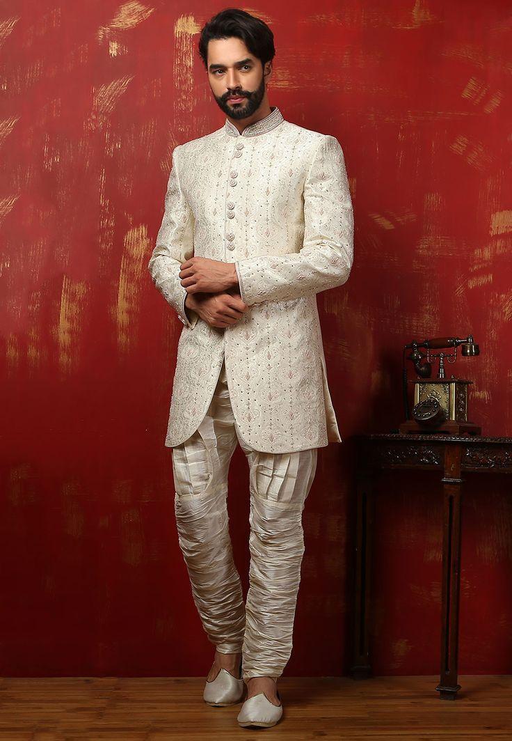 Buy Embroidered Brocade  Jodhpuri Suit in Off White online,Item code: MPW202, Occasion: Wedding, Work: Contemporary, Stone Work, Zardosi Work, Fabric: Art Silk, Gender: Men