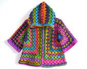 Afghan Crochet Girl Wool Hoodie Cardigan, Colorful, Baby/Toddler Girl, three-quarter sleeve, READY TO SHIP