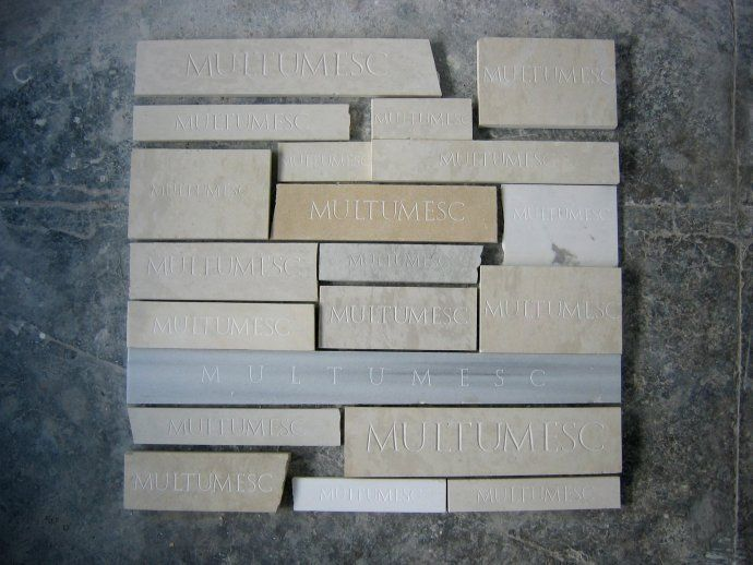 Radu Cioca: Project 1 square meter of thank you notes  hand carved marble/ lime stone  100/100/5cm  2012