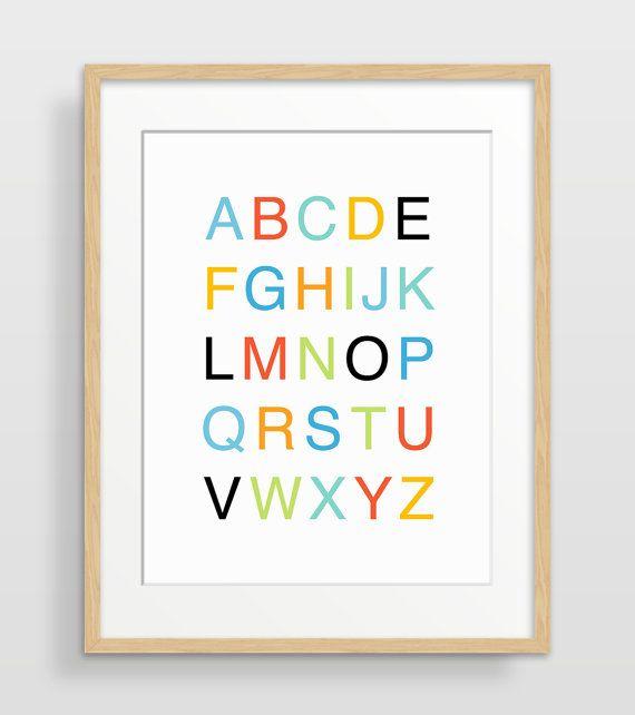 VERKOOP alfabet Poster met moderne kwekerij Decor, alfabet kunst, kwekerij Print, Kids Wall Art, Kinderkunst