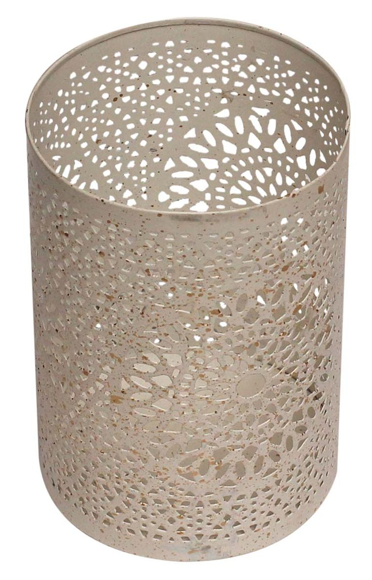 "Bulk Wholesale 6"" Handmade Cylindrical-Shaped Tealight Candle Holder / Votive Candle Stand in White Color with Splashed Golden Color Effect – Designed in Random Intricate Cut-Out Patterns – Decorative Candle Holders in Metal"
