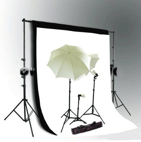 CowboyStudio Photo and Video Studio Continuous Lighting Kit 10 X 20ft Black  White Muslin Backdrops with Heavy Duty Backdrop Support System >>> Visit the image link for more details.