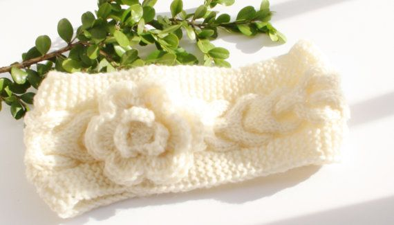 Ivory Cable Knitted Headband for Girl Wool by HelenKurtidu on Etsy