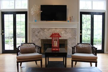 What a beautiful fireplace!! Note the french doors painted black but with white trim right above. Works very well.