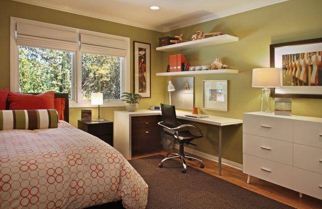 jugendzimmer gestalten gruene-wandfarbe-eckschreibtisch-wandregale