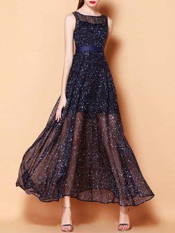 Dark Blue Boho Abstract Mesh Swing Maxi Dress