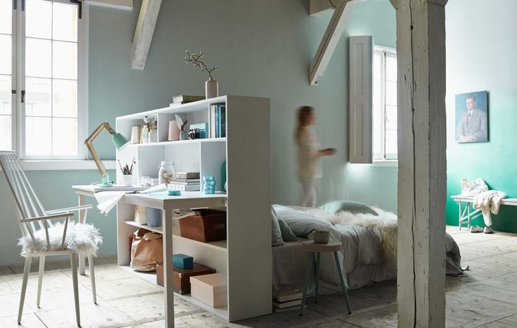 bedroom workspace idea - mint bedroom -