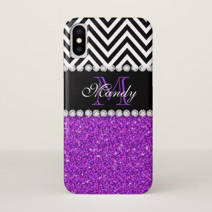 Personalized Purple Glitter Black Chevron Monogram iPhone X Case - chic design idea diy elegant beautiful stylish modern exclusive trendy