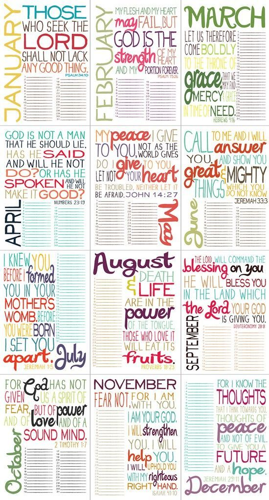Printable Bible Verse by Month. LOVE THIS!!! DOING THIS!! Print out each month & write down prayer needs for our family, friends, church, etc. and pray through it daily for the month! @ Heart-2-HomeHeart-2-Home