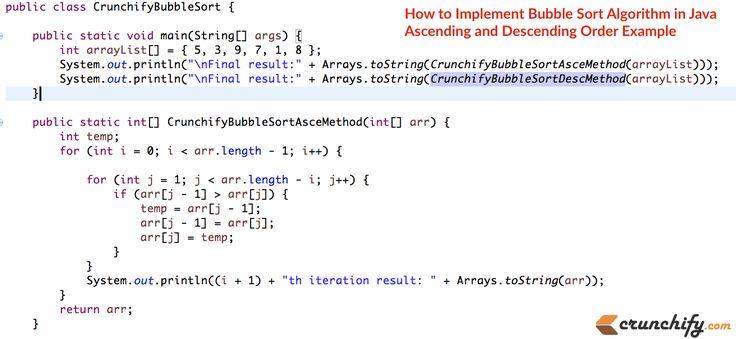 Updated: How to Implement #Bubble #Sort #Algorithm in #Java – Ascending, Descending Order Example http://crunchify.me/1VJ8REm #job #interview
