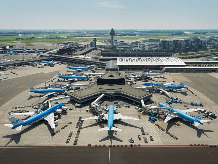 Just a small portion of the KLM fleet parked at various gates of Amsterdam-Schiphol.