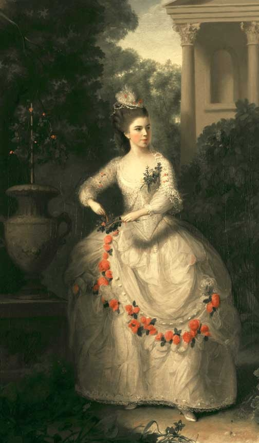 Frances Abington (Actress) by Thomas Hickey, 1775    *I want trim like the rose trim on this dress.* maybe the rose details could be picked up in the hat?