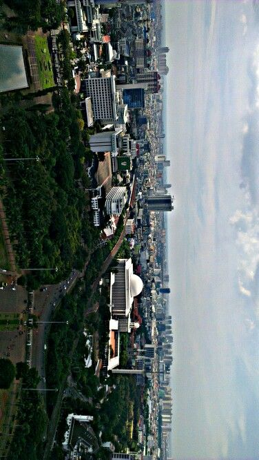 top view from tugu monas, the ocean, northern jakarta