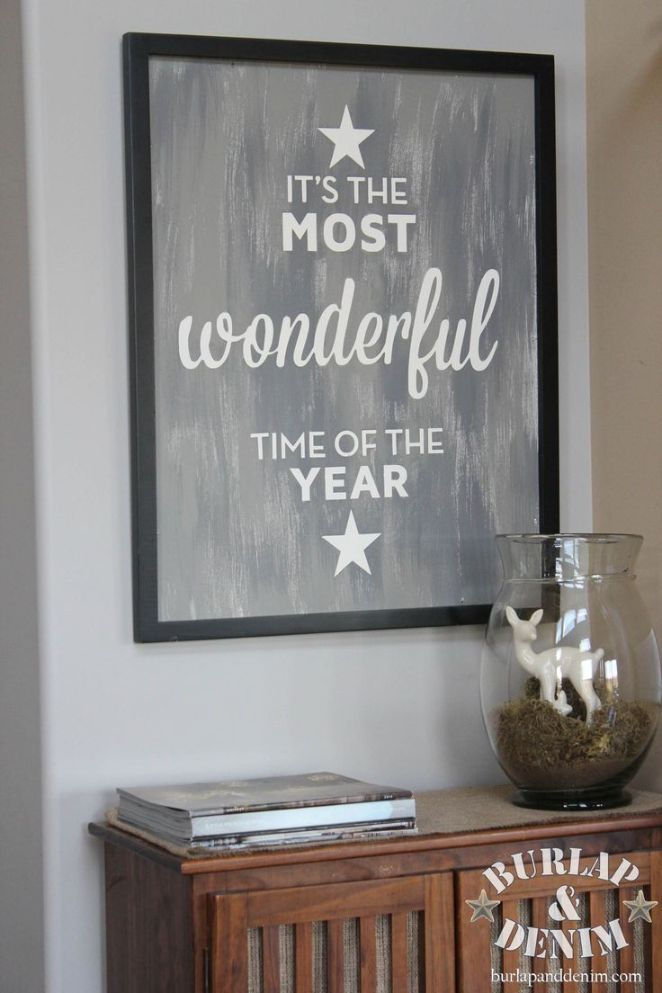Primitive stencil home sweet home 12x12 for painting signs crafts - Diy Pottery Barn Knock Off Of A Vintage Style Christmas Sign The Words It S The Most Wonderful Time Of The Year Are Hand Painted On A Masonite Poster Frame