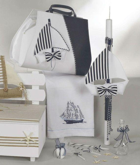 8 pc Complete greek baptism set Navy Baby boy baptism outfit + shoes Ladopana set * 50 Bombonieres 50 Witness pins martyrika Oil set