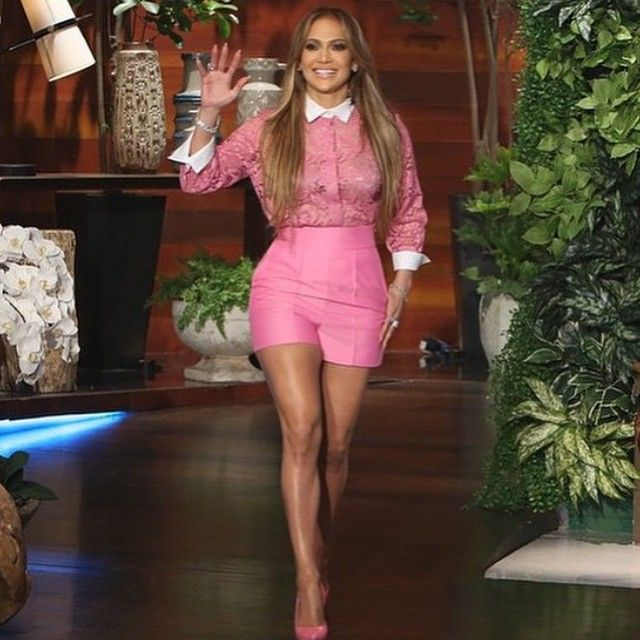 @jlo pretty in Valentino pink live on the @theellenshow #pink #lace #shorts #jlo #theellenshow