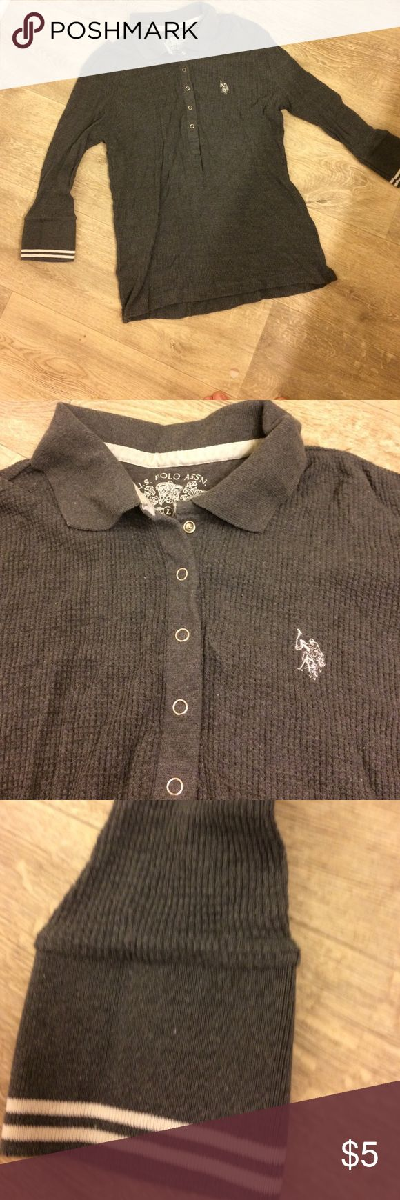 Gray Henley top by US Polo Assn 100% cotton makes this a very comfy top. Rarely worn in great condition! U.S. Polo Assn. Tops Tees - Long Sleeve