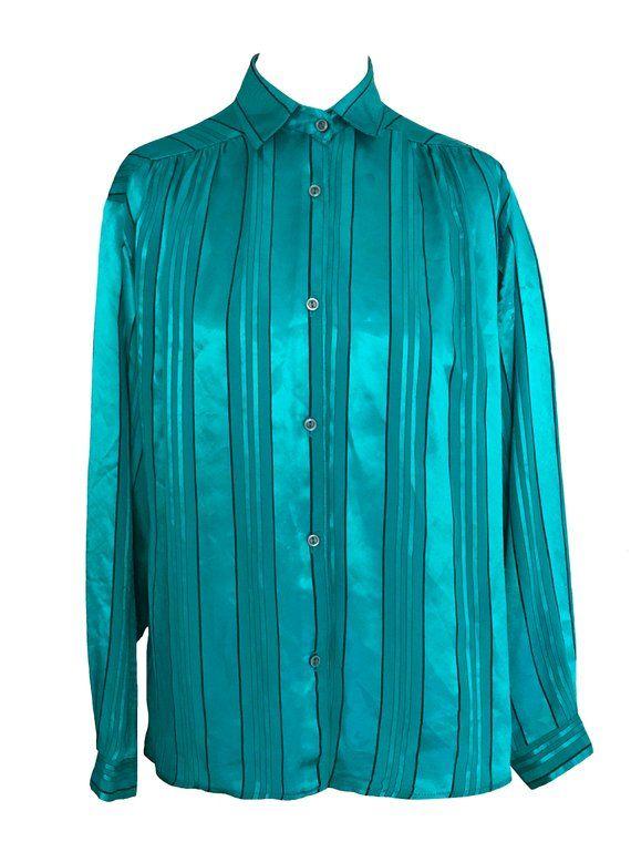 66c10d32f8ccca 70s Deni Cler Silky Satin Turquoise Blue Teal #clothing #women #blouse  @EtsyMktgTool #sale